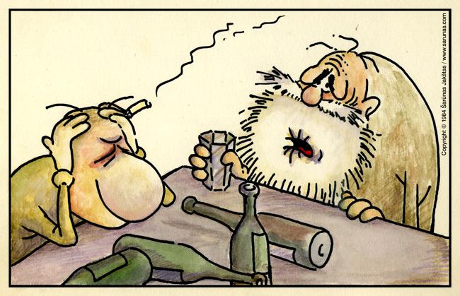 Jakštas Šarūnas. Karikatūra  Cartoon. Du girtuokliai / Two Alcoholics. Pirmieji spalvinimai.