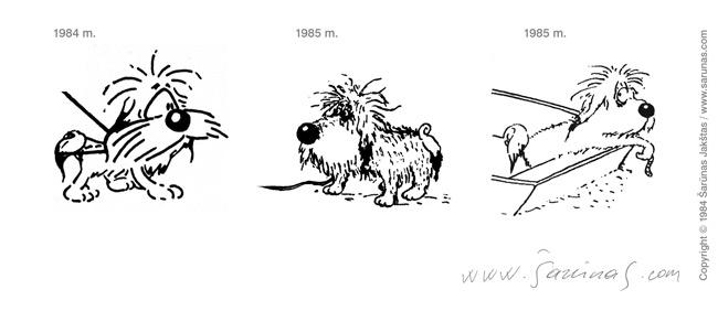 Jakštas Šarūnas. Karikatūra, Cartoon, Karikaturen, Caricatura. Šunys, stilistika (1984–1985 m.).