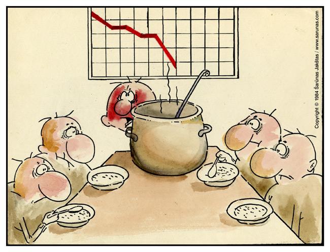 "Jakštas Šarūnas. Karikatūra  Cartoon. ""Kuriam dar košės?"" / ""Who wants more porridge?"""