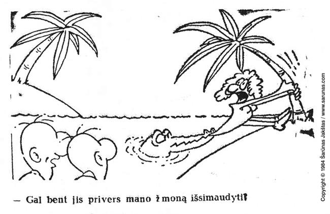 """Jakštas Šarūnas. Karikatūra, Cartoon. Krokodilas / Crocodile. (""""Vakarinės naujienos"""" (1984 m., Nr. 150 (birželio 30 d.))."""