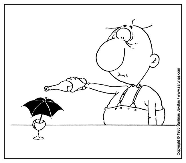 """Jakštas Šarūnas. Karikatūra, cartoon, karikaturen. Abstinentas / Abstinent """"Šluota"""" (1985 m., Nr. 3). Juodas tušas / Black ink."""