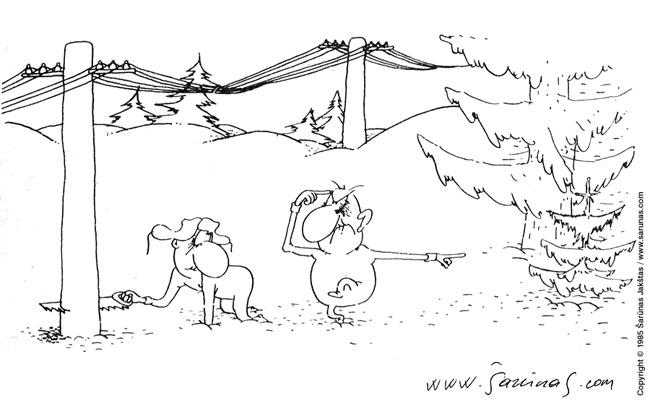 """Jakštas Šarūnas. Karikatūra, cartoon.  Eglutė / Christmas tree """"Šluota"""" (1986 m., Nr. 1). Juodas tušas / Black ink."""