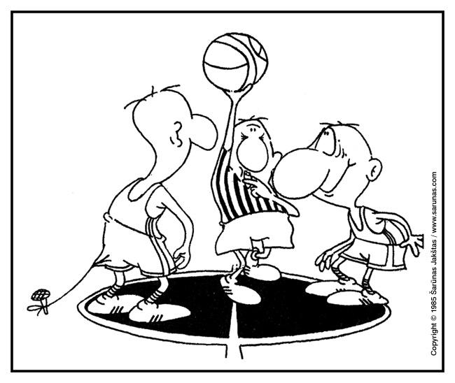"""Jakštas Šarūnas. Karikatūra, cartoon, karikaturen. Ginčas / Jump ball. (""""Švyturys"""" (1985 m., Nr. 4)). Juodas tušas / Black ink."""