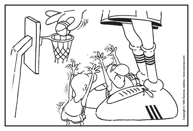 """Jakštas Šarūnas. Karikatūra, cartoon, karikaturen. Centras / Center. (""""Švyturys"""" (1985 m., Nr. 4)).  Juodas tušas / Black ink."""