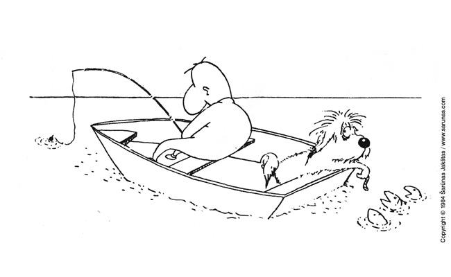 """Jakštas Šarūnas. Karikatūra, cartoon.  Žūklė / Fishing. (""""Švyturys"""" (1985 m., Nr. 17)). Juodas tušas / Black ink."""