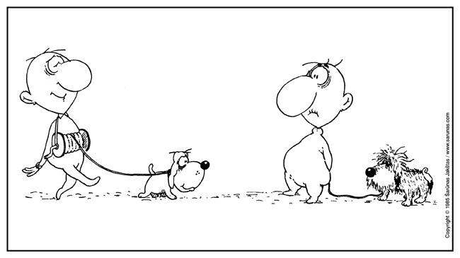 """Jakštas Šarūnas. Karikatūra, cartoon, karikaturen. Pavadėlis / Leasher (""""Šluota"""" (1985 m., Nr. 16)). Juodas tušas / Black ink."""
