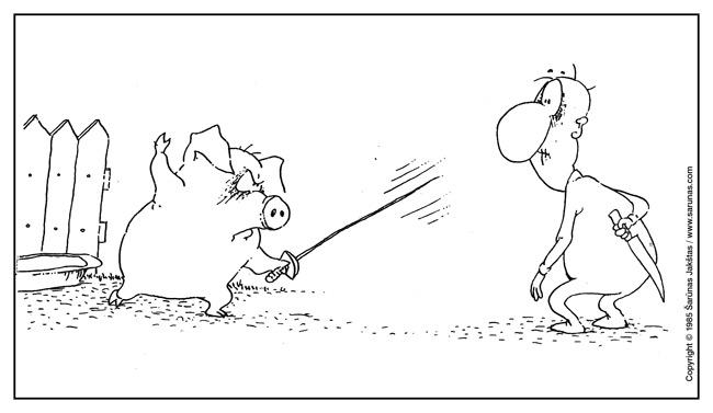 """Jakštas Šarūnas. Karikatūra, cartoon, karikaturen. Špaga / Leasher (""""Šluota"""" (1985 m., Nr. 23)). Juodas tušas / Black ink."""