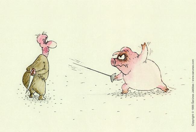 """Jakštas Šarūnas. Karikatūra, cartoon, karikaturen. Špaga / Rapier / TV """"Dailininkai šypsosi"""", 1989 m. Juodas tušas / Black ink."""