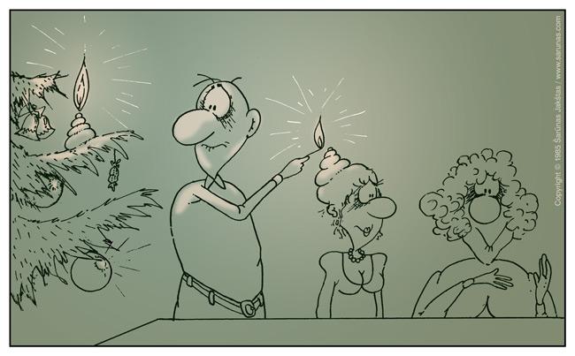 Jakštas Šarūnas. Karikatūra, cartoon, karikaturen. > Žvakė /Candle <
