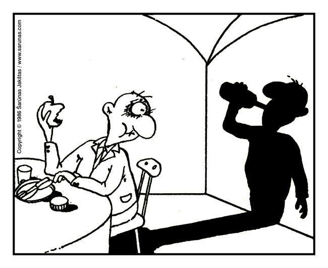 """Jakštas Šarūnas. Karikatūra, cartoon.  Abstinentas / Abstinent  // Karikatūrų rinkinys """"Į sveikatą"""" (1987 m.). //"""
