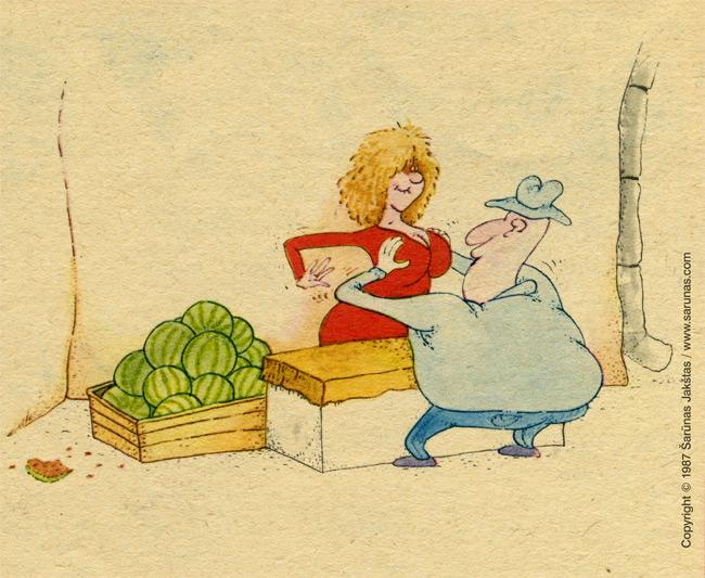"Jakštas Šarūnas. Karikatūra, cartoon.  > Arbūzai / Watermelons < ""Šluota"" (1987 m., Nr. 14)"