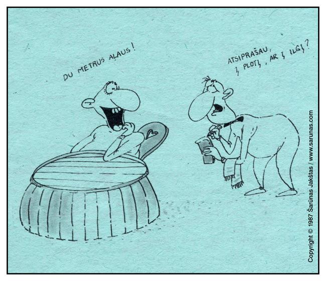 """Jakštas Šarūnas. Karikatūra, cartoon.  Lankytojas: """"Du metrus alaus!"""" Barmenas: """"Atsiprašau,  į plotį, ar į ilgį?"""" """"Šluota"""" (1987 m., Nr. 14)"""