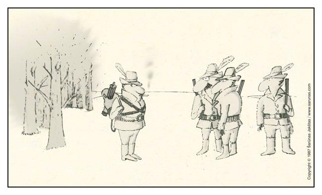 """Jakštas Šarūnas. Karikatūra, cartoon, karikaturen. > Kulkosvaidis / Machine gun < """"Šluota"""" (1987 m., Nr. 17)"""
