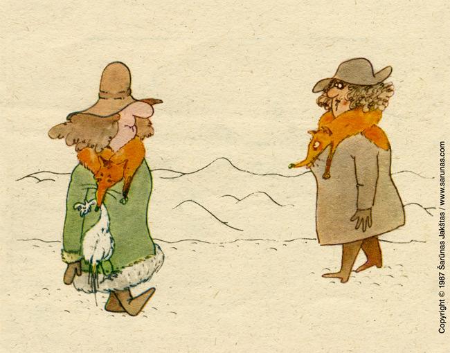 "Jakštas Šarūnas. Karikatūra, cartoon.  > Kailiniai / Fox Fur Coats < ""Šluota"" (1987 m., Nr. 14)"