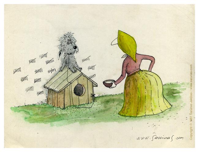 """Jakštas Šarūnas. Karikatūra, Cartoon, Karikaturen, Caricature. > Įkalinimas / Imprisonment < // LTV """"Dailininkai šypsosi"""", 1989 m., balandis. //"""