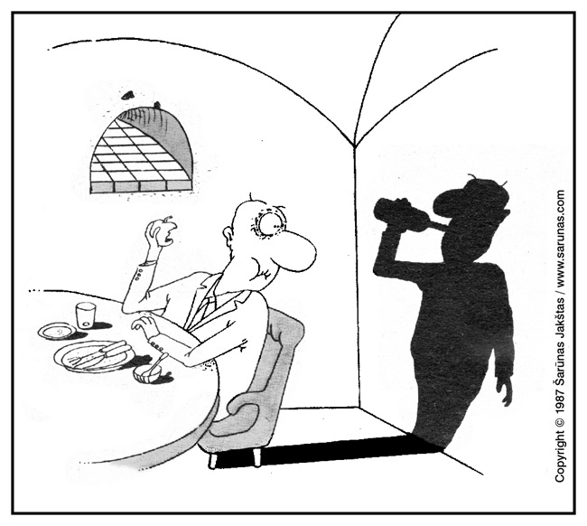 """Jakštas Šarūnas. Karikatūra, cartoon.  > Šešėlis / Shadows < """"Šluota"""" (1987 m., Nr. 14)"""