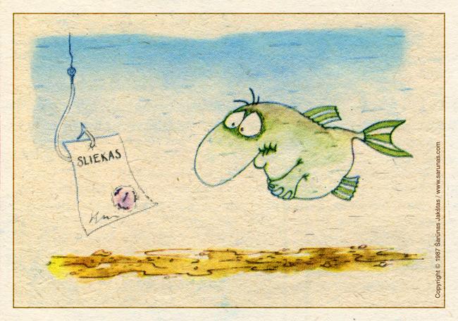 "Jakštas Šarūnas. Karikatūra, cartoon.  > Sliekas / Earthworm < ""Šluota"" (1987 m., Nr. 14)"
