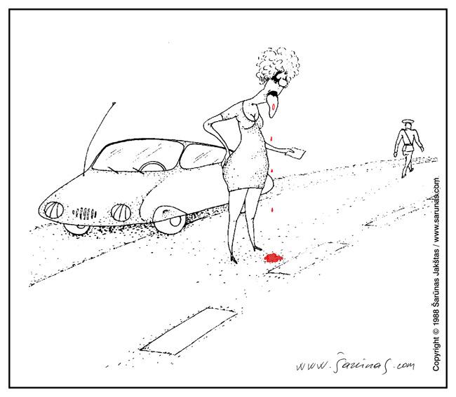 Jakštas Šarūnas. Karikatūra, cartoon, karikaturen. > Bauda / Car Penalty <  XIV karikatūrų paroda  (1988 m.).