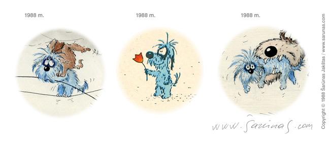 Jakštas Šarūnas. Karikatūra, Cartoon, Karikaturen, Caricatura.  Šunys, stilistika (1988 m.)