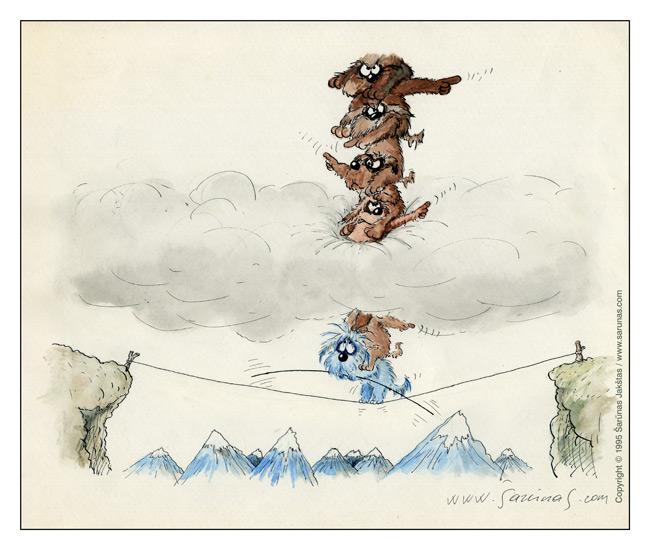 """Jakštas Šarūnas. Karikatūra / Cartoon / Karikaturen / Caricatura. Visažiniai / All-knowing // LTV """"Dailininkai šypsosi"""", 1989 m., balandis. //"""