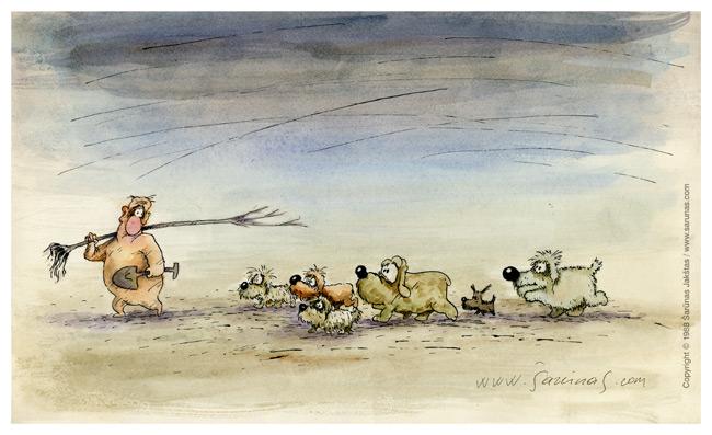 "Jakštas Šarūnas. Karikatūra, Cartoon, Karikaturen, Caricature. > Talkininkai / Assistants < // LTV ""Dailininkai šypsosi"", 1989 m., balandis. //"