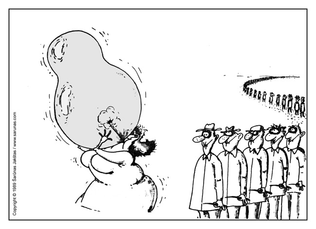 """Jakštas Šarūnas. Karikatūra, cartoon, karikaturen. > Balionas ir adata / Balloon & Needle  < // """"Jaunimo gretos"""" (1989 m., Nr. 3). //"""