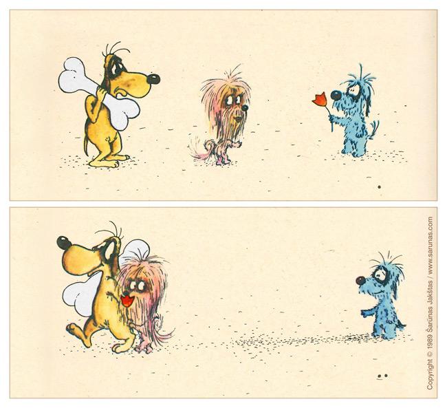 """Jakštas Šarūnas. Karikatūra, Cartoon, Karikaturen, Caricatura. > Kaulas / Bone < //  LTV """"Dailininkai šypsosi"""", 1989 m., balandis. //   // """"Šluota"""" (1989 m., Nr. 9). //"""