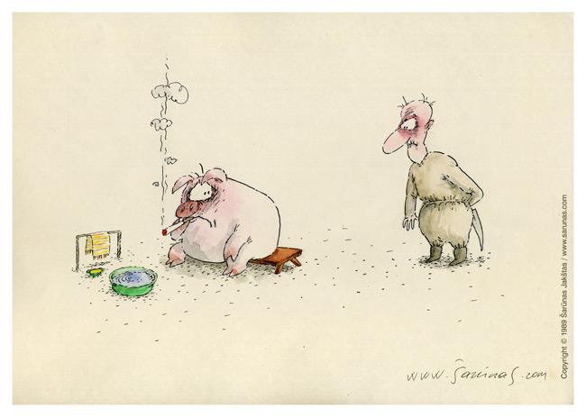 """Jakštas Šarūnas. Karikatūra, Cartoon, Karikaturen, Caricatura. > Paskutinis noras / The Last Wish < //  LTV """"Dailininkai šypsosi"""", 1989 m., balandis. //"""