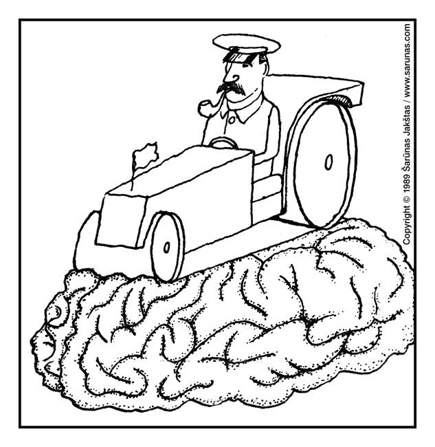 """Jakštas Šarūnas. Karikatūra, cartoon, karikaturen. > Volas / Road Roller < // """"Soglasie"""" (1989 m., Nr. 3). //"""