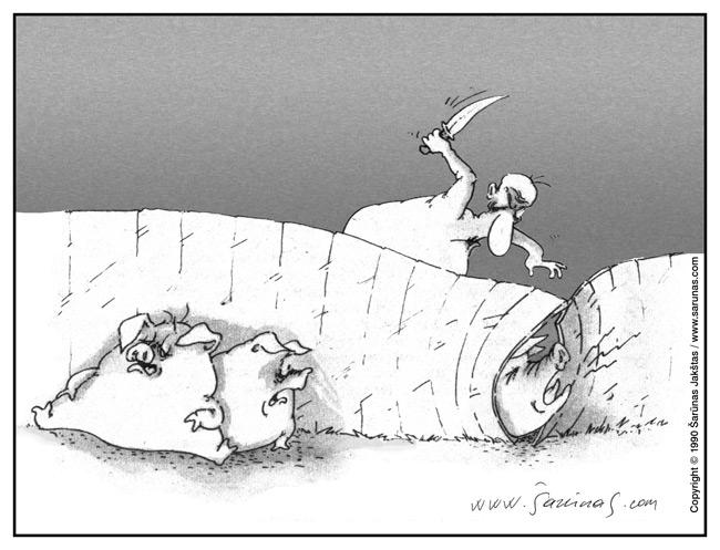 Jakštas Šarūnas. Karikatūra, Cartoon, Karikaturen, Caricatura.  Aštrūs pojūčiai / Sharp feelings (1990)