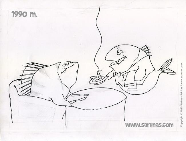 Jakštas Šarūnas. Karikatūra, cartoon.  > Skanaus!.. / Bon Appetit!.. < // Kontūrinis piešinys (1990 m.) – juodas tušas. //