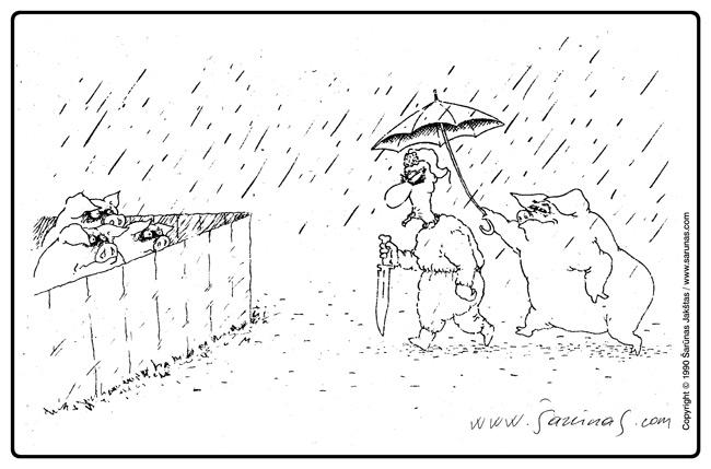 "Jakštas Šarūnas. Karikatūra, cartoon, karikaturen. > Pataikūnas / Sycophant < ""Respublika"" (1990 m., Nr. 231)."
