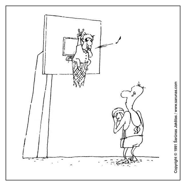 """Jakštas Šarūnas. Karikatūra, cartoon, karikaturen. > Baudų metimai / Free throws < // """"Kuntaplis"""" (1991 m., Nr. 3). //"""