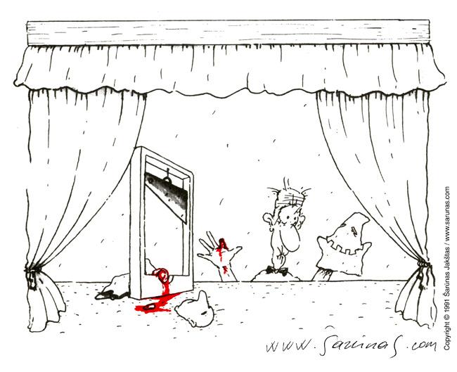 "Jakštas Šarūnas. Karikatūra, Cartoon, Karikaturen, Caricatura. > Budelis / The Executioner< // ""Šluota"" (1991 m., Nr. 13). //"