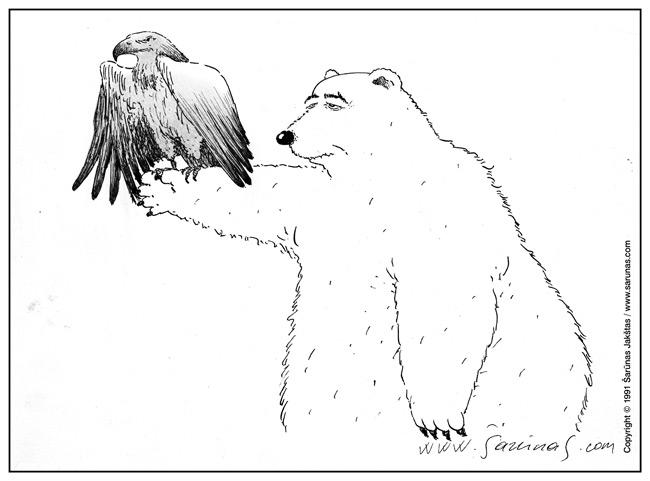 Jakštas Šarūnas. Karikatūra, cartoon, karikaturen, Caricatura: Gorby-Kolis