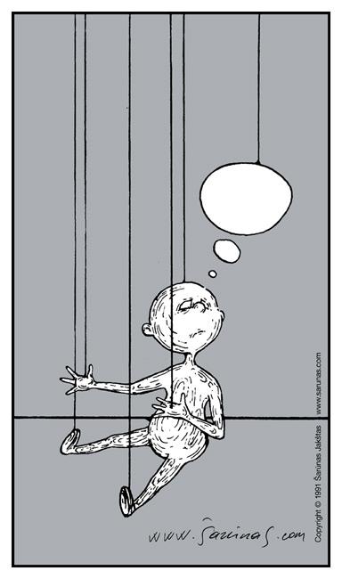 """Jakštas Šarūnas. Karikatūra, Cartoon, Karikaturen, Caricatura. > Marionetė / Marionette < // """"Šluota"""" (1991 m., Nr. 13). //"""