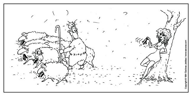 "Jakštas Šarūnas. Karikatūra, Cartoon, Karikaturen, Caricatura. > Varpelis / Sheep Bell < // ""Moteris"" (1991 m., Nr. 6). //"