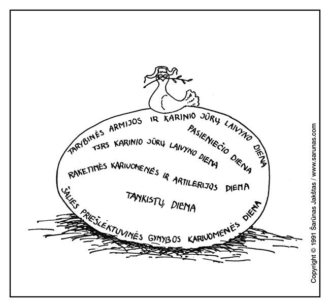 """Jakštas Šarūnas. Karikatūra, cartoon, karikaturen. > Taikos balandis / White dove with olive branch < //  """"Pasaulio lietuvis"""" (1991 m., Spalis). //"""