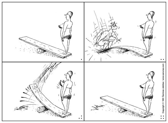 """Jakštas Šarūnas, mini stripas """"Tramplinas"""". Komiksas, Comic. // """"Moteris. Pagrandukas."""" (1991 m., Nr. 4). //"""