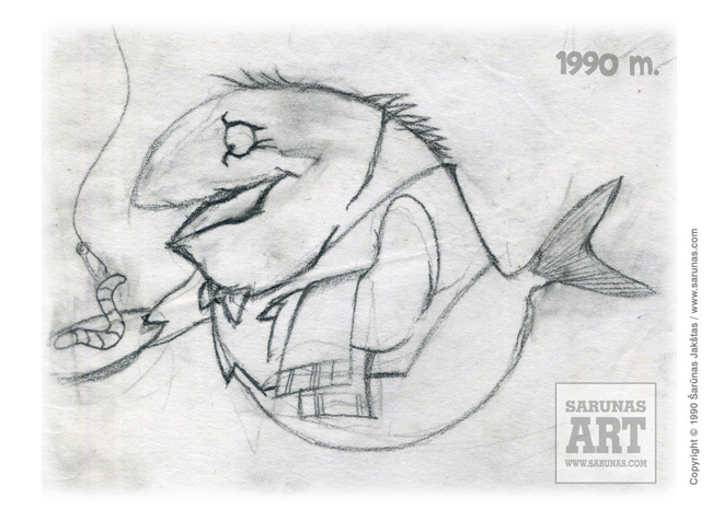 Jakštas Šarūnas. Karikatūra, Cartoon, Karikaturen, Caricatura. // Skanaus!  / Žuvies-padavėjo eskizas.