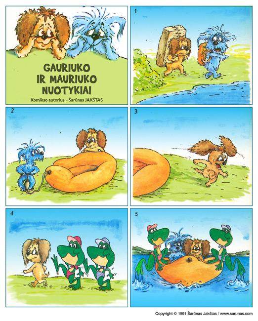 """Jakštas Šarūnas. Gauriuko ir Mauriuko nuotykiai. Komiksas """"Iškylautojai"""".  """"Genys"""" (1991 m., Nr. 8)."""