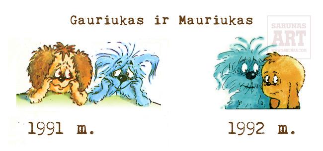 Jakštas Šarūnas. Gauriuko ir Mauriuko nuotykiai. Komikso personažai prieš korekciją (1991 m.) ir po jos (1992 m.).